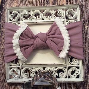 Other - Baby Girls Light Plum & White Knot Bow Headband